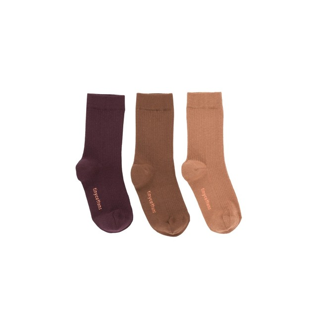 tinycottons / pack of 3 medium socks[plum/brick/terracotta]