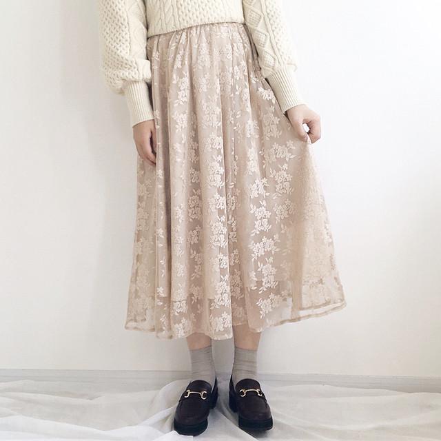 花柄レーススカート【beige】