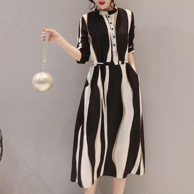 【dress】レディースファッションストライプ柄着瘦せデートワンピース