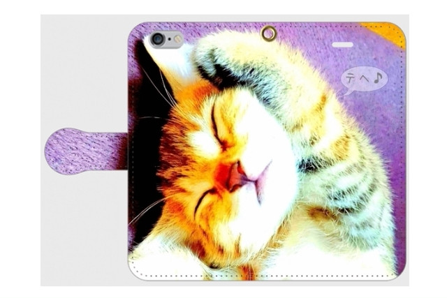 (iPhone用)猫の手帳型スマホケース(片手あげ)
