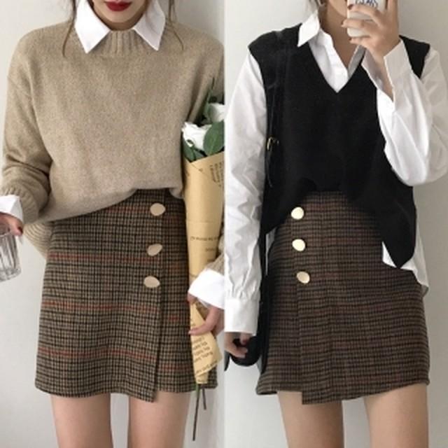 流行の兆し!少女っぽいのに女っぽい☆チェック柄 台形ミニ ラップスカート