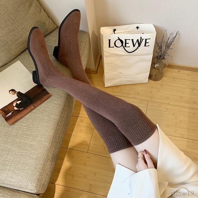 【シューズ】上品な可愛さ シンプル ポインテッドトゥ ストレッチ ローヒール チャンキーヒール ブーツ51436249
