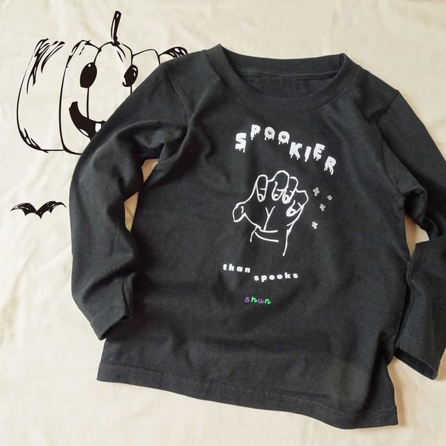 名入れok/ハロウィンTシャツ おばけよりもこわいのは・・ 長袖110~XL ロンT