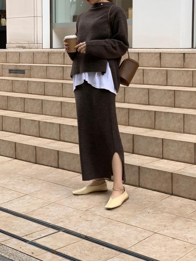 knit up skirt / brown (即納)