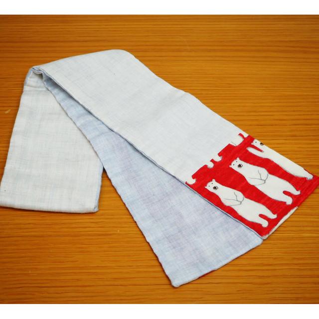 【ほろほろおたまさん】3ポケット ミニマフラー・ホワイト×レッドくまさん