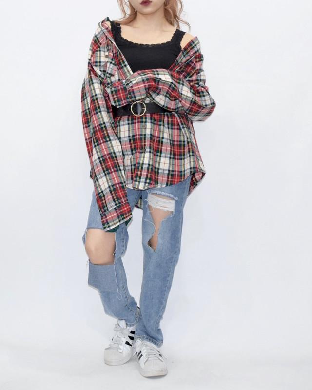 【WEB限定】TARTAN CHECK BIG SHIRTS(RED/WHT)