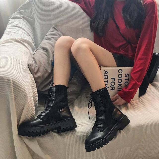 【 シューズ 】裏起毛  レースアップ フェイクレザー ショート ブーツ ローヒール  ソックス  送料無料 5616