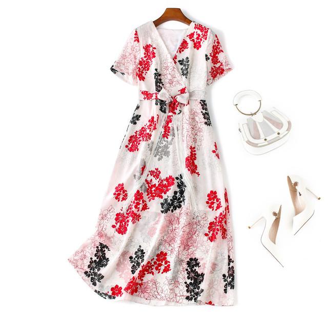 【シルク100%・高品質】シルクワンピース ドレス レディースファション Vネック 半袖 ロング丈 花柄 ゆったり エレガント 高品質 高級感ある 女子会 結婚式 普段着 M L LL レッド 赤い ホワイト 白い