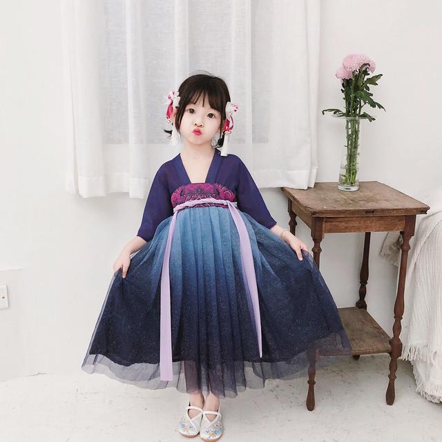 超可愛い 漢服 チャイナ風ワンピース 刺繍 オリジナル 舞台衣装 誕生日プレゼント パープル ワンピース 90cm 100cm 110cm 120cm 130cm 140cm
