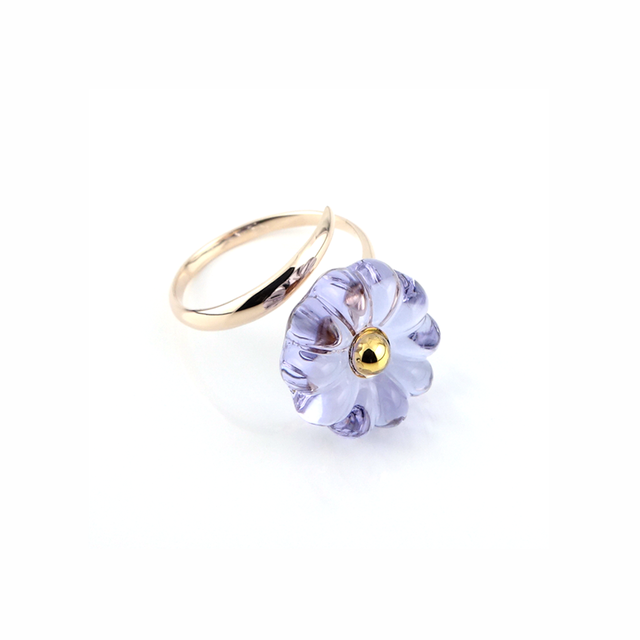 "k10_flower glass_ring ""ajisai"""