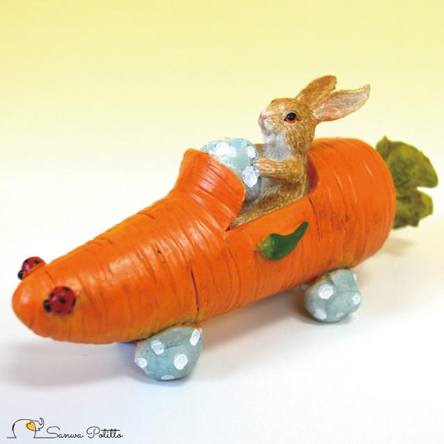 うさぎ レトロ アンティーク風 置物 兎 ウサギ キャロットカー オブジェ プレゼント ギフト かわいい ミニチュア EV14464A 高さ約6.5cm