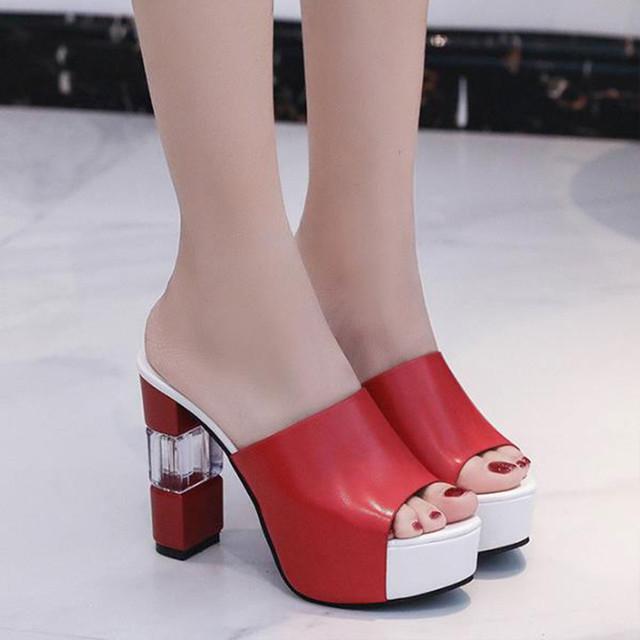 【shoes】かわいいスタイル切り替え無地フリルフラットスリッパサンダル
