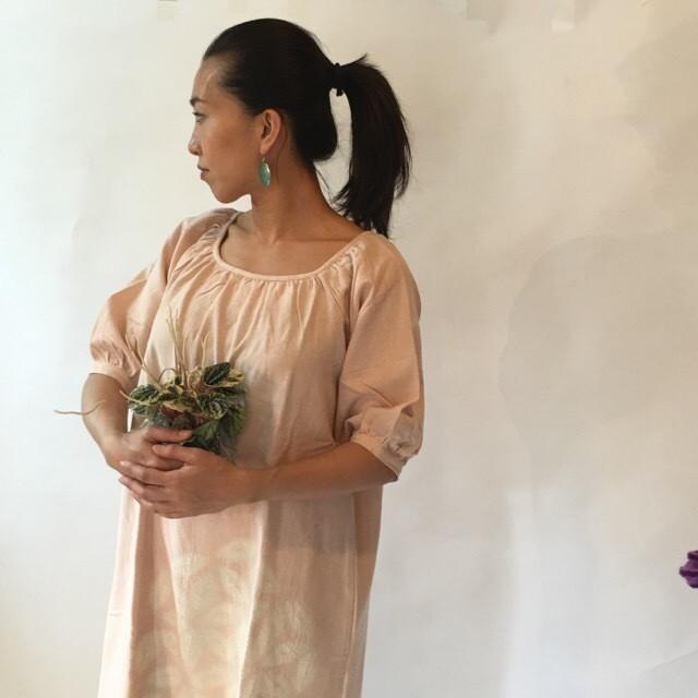 Plant Dyed Seed of Life Cotton Scarf -Peach flower シードオブライフコットンスカーフ 植物染#02桃花