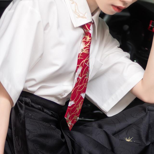 【海棠落シリーズ】★ネクタイ★ 3タイプ選択可能 小物 合わせやすい 鶴 花柄 レッド ブルー 赤い 青い