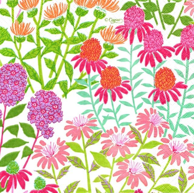 【Caspari】バラ売り1枚 ランチサイズ ペーパーナプキン WILDFLOWER MEADOW ピンク