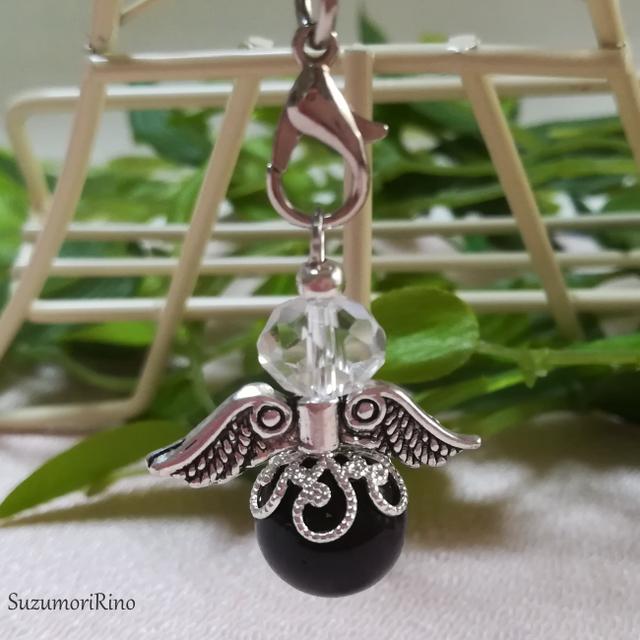 【ストラップ】天然石天使の羽ストラップ-大玉-タイガーアイ(グリーン)-(S-010)