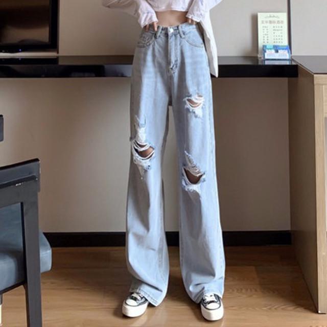 【ボトムス】ファッションハイウエストダメージ加工デニムパンツ26415156