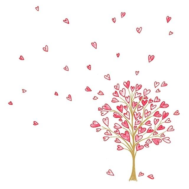 入荷しました |2020春夏【Atelier】バラ売り2枚 ランチサイズ ペーパーナプキン LOVE TREE ホワイト×レッド×パールゴールド