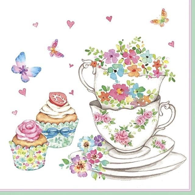 入荷しました|完売再入荷【Daisy】バラ売り2枚 ランチサイズ ペーパーナプキン CUPS AND CUPCAKES ホワイト