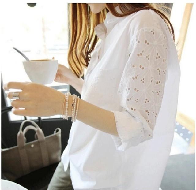 59%OFF【花柄刺繍レース パンチングシャツ) 花柄刺繍ブラウス スタンドカラー ホワイト【サイズ:M・L】