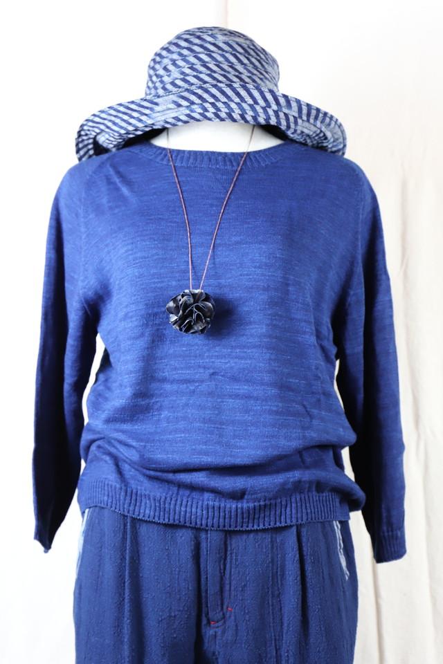 藍染糸ニットカーデ KN01
