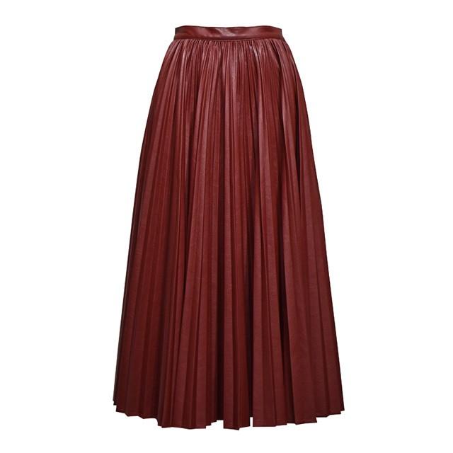 MURRAL / レザープリーツスカート / Bordeaux