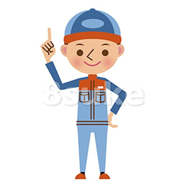 イラスト素材:指差しをする自動車整備士(ベクター・JPG)