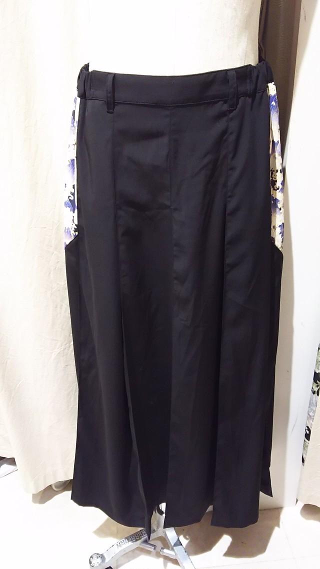 gouk侍 袴風プリーツロングスカート 黒 GGD27-S804 BK/MM