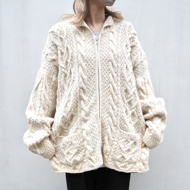 Fisherman zip up wool sweater