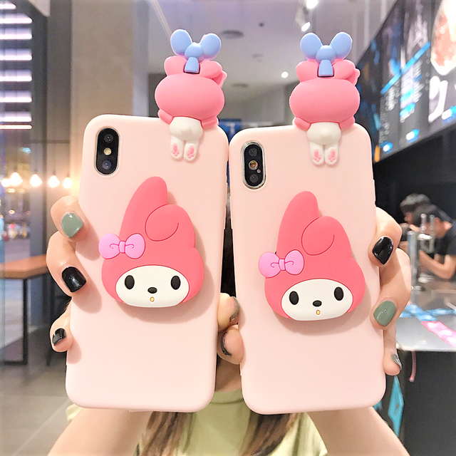 グリップ付き Pink rabbit 3D silicone case