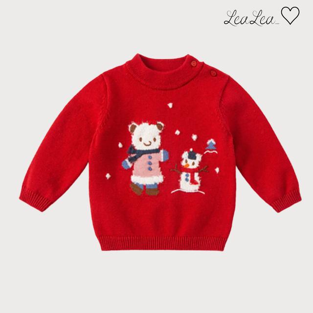 dave&bella2021AW新作♡ゆきだるま刺繍デザインリブニットトップス(66cm-130cm)| LeaLea...♡(レアレア)-海外の子供服セレクトショップ