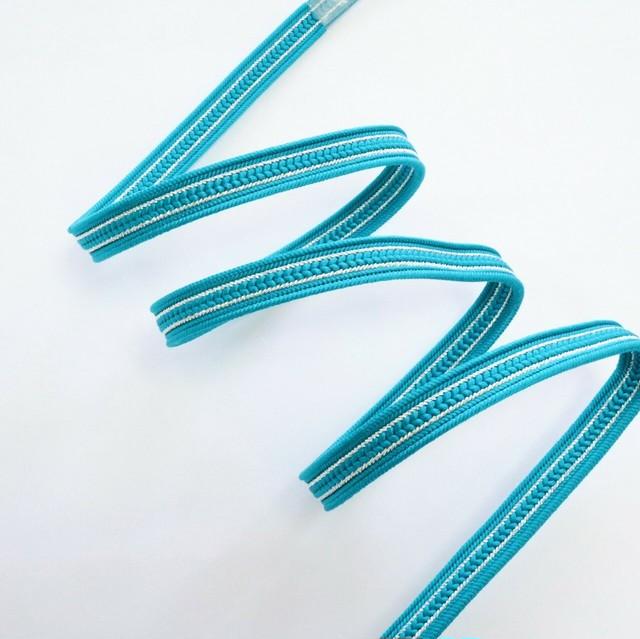 【帯締め】正絹三部紐 ピーコックブルー×シルバー