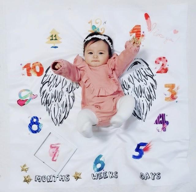 商品番号515 ベビーフォトブランケット カラフル 天使の羽