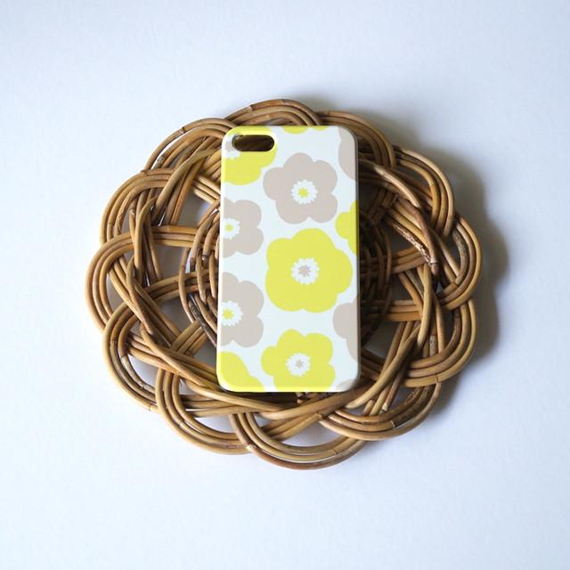 【iPhone / Android 各機種専用タイプ】側表面印刷*ハード型*スマホケース「popy ( yellow × grey )」● 受注生産