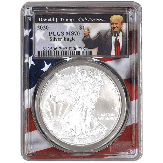 2020 S$1 MS70 PCGS トランプ大統領 星条旗ラベル