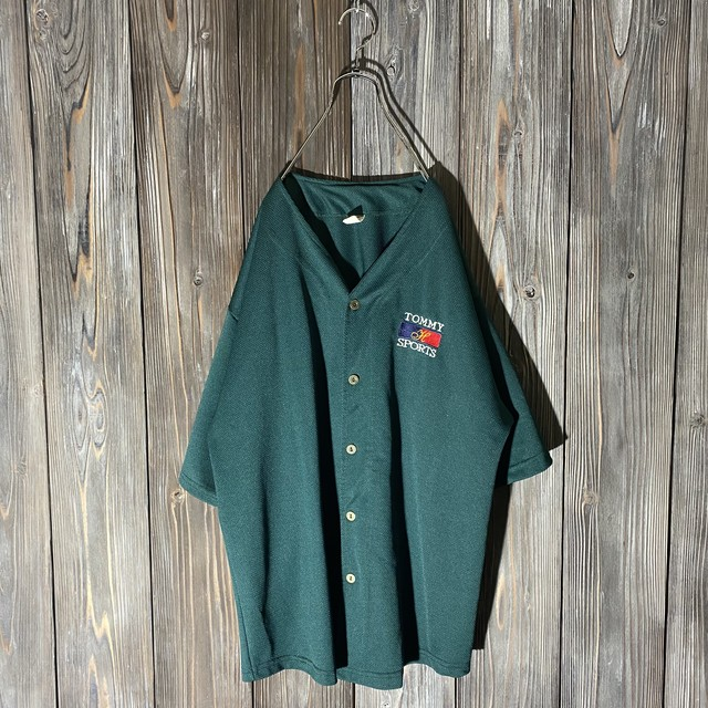 [TOMMY]dark green baseball shirt