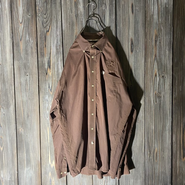 [used]vintage brown embroidery shirt