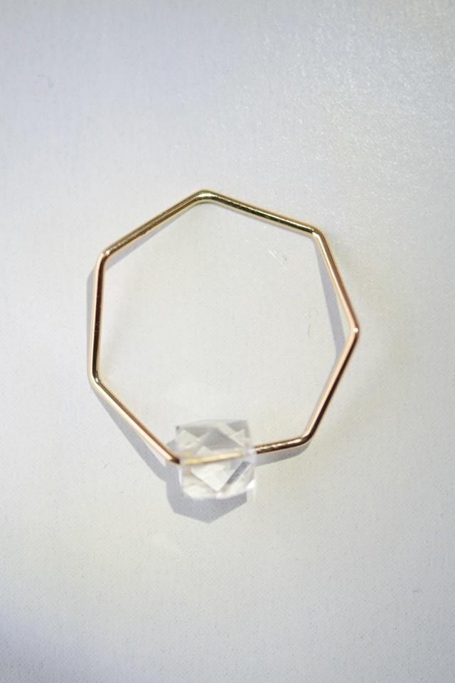 siki 七角形と水晶のリング(K18YG)