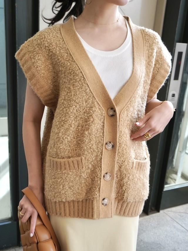 【予約】poodle knitvest / camel (3月下旬発送予定)