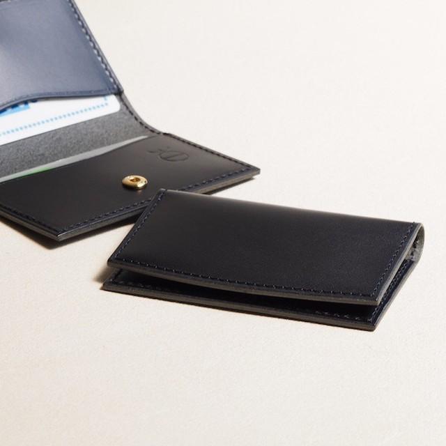 薄く小さい革のパスケース#ブラック