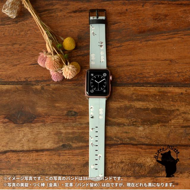 apple watch バンド おしゃれ apple watch 3 革バンド アップルウォッチ 女性用 鳥 小鳥 シマエナガたち/Bitte Mitte!