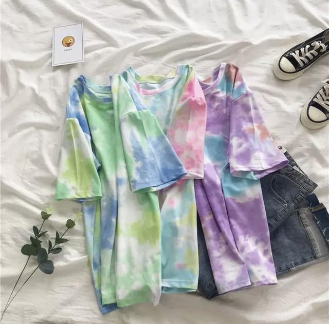 M~XXL 3カラー★ Tシャツ 半袖 水彩柄 絵の具デザイン