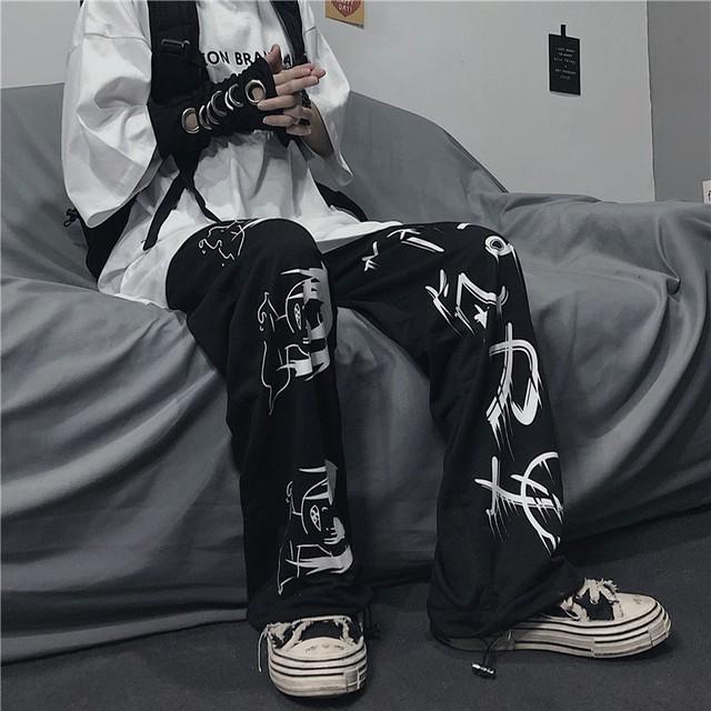 【ボトムス】シンプル落書きファッションカジュアルパンツ34201062