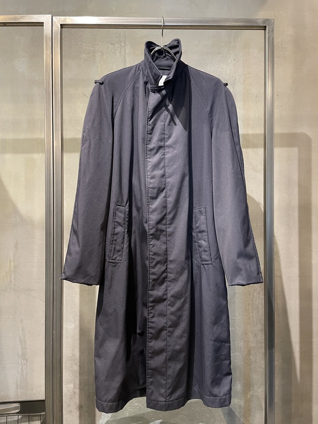 TrAnsference balmacaan coat - imperfection black garment dyed
