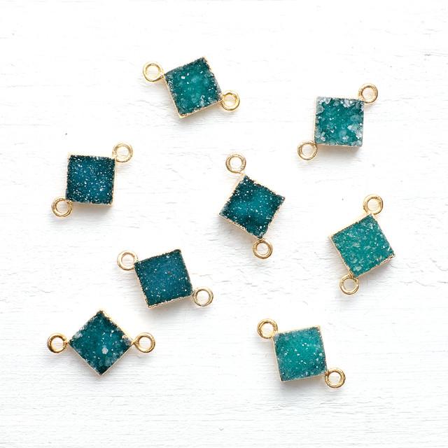 ドゥルージー2カン付8mmダイヤモンドGD(グリーン)  1個