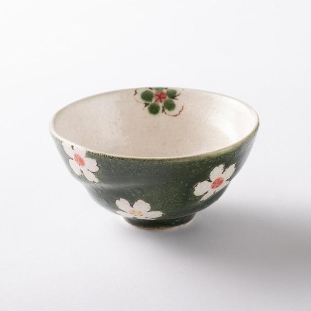 【美濃焼】軽量茶碗「花おりべ 茶碗 花散し緑」