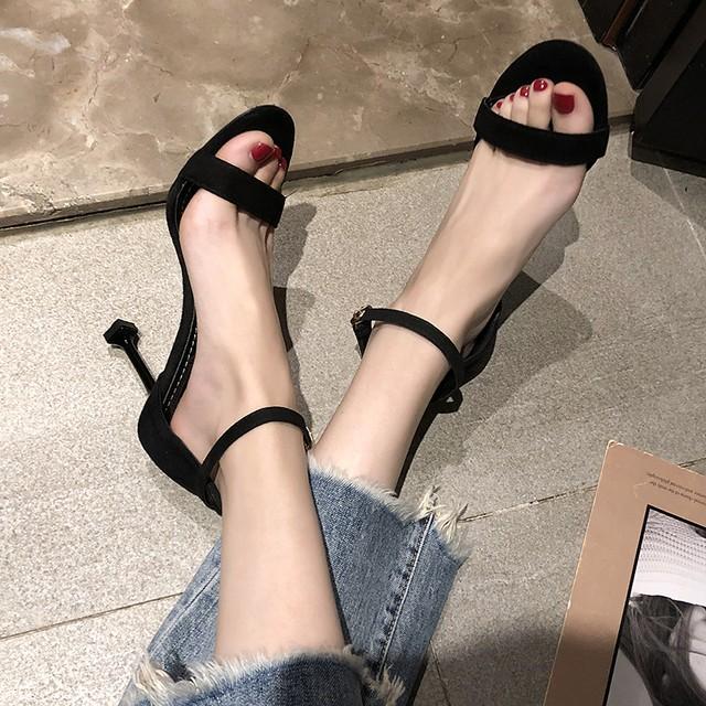 【シューズ】ファッション無地ピンヒールストラップミュール21705907