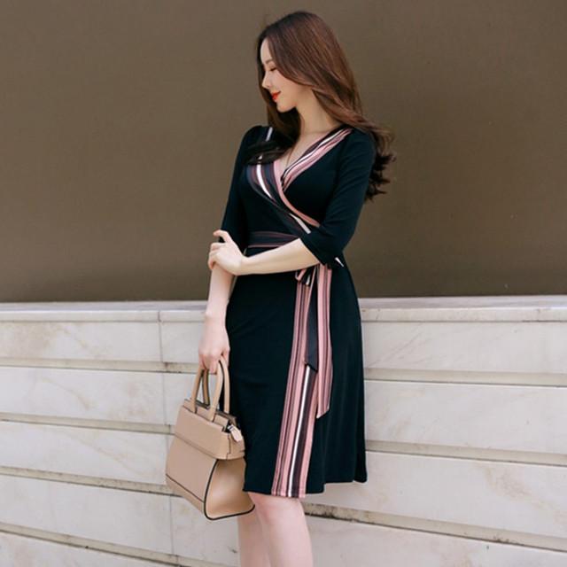 【dress】女子力アッププリントAラインデートワンピース