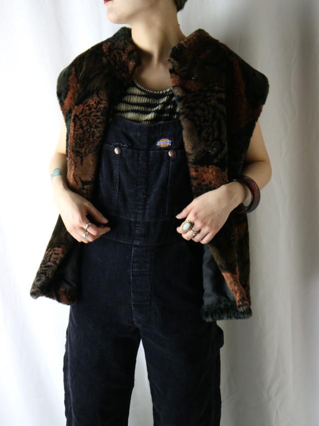 animal pattern fake fur vest【5405】