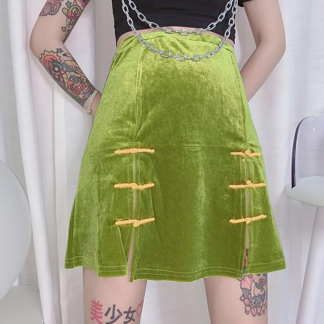 チャイナ風スカート エスニック風 民族風 チャイナボタン ボトムス ミニ丈 改良唐装 漢服 女子会 着痩せ チャイナ風服 中華服 合わせやすい グリーン 緑 激安 可愛い ベルベット フリーサイズ